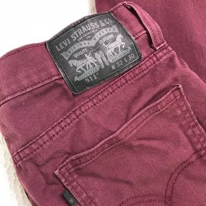 Levis 511 Slim Jeans Men's 32x29.5 Burgundy